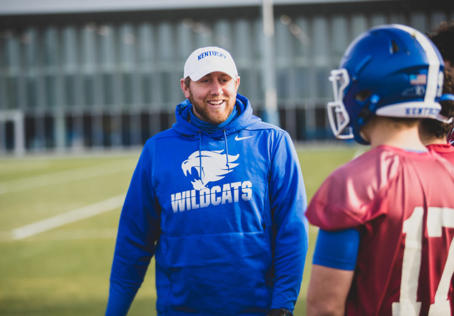 Offensive+coordinator+Liam+Coen+has+been+mostly+all+smiles+during+spring+workouts.