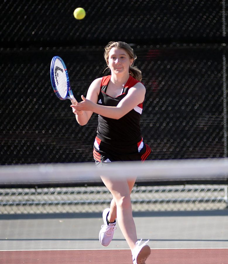 Harlan County's Abigail Gaw, pictured in action earlier this season, was a winner against Barbourville in both single and doubles as the Lady Bears won 8-1.