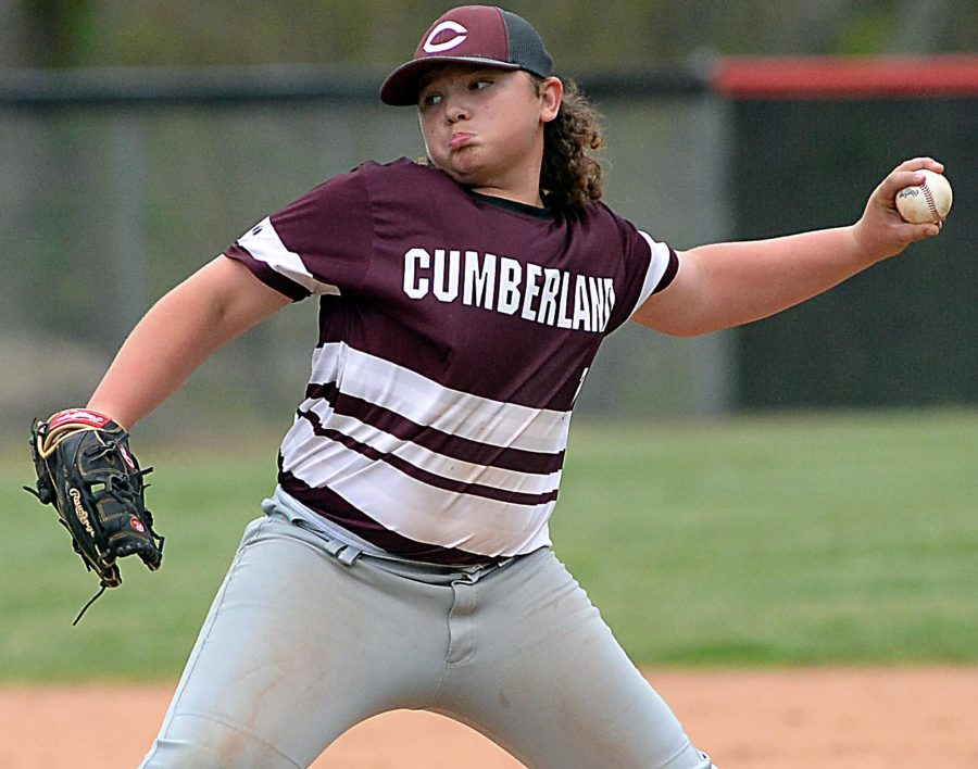 Cumberland's Brayden Casolari delivered a pitch during the Redskins' win over New Harlan in middle school baseball action.