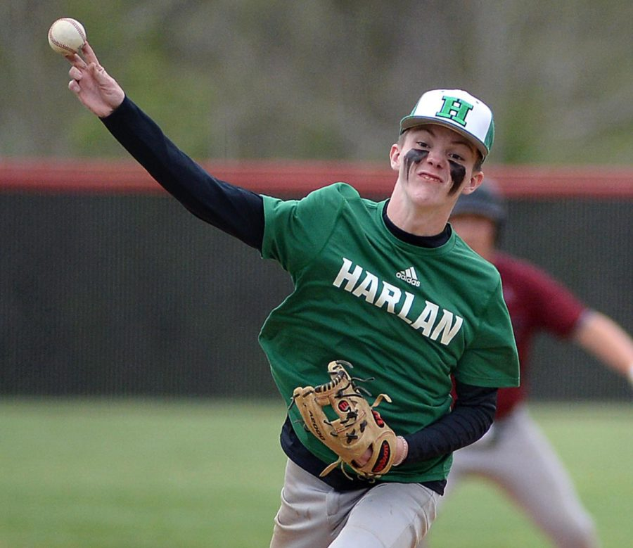 Harlan's Evan Browning delivered a pitch in Tuesday's game at Harllan County. The Black Bears won 6-3.