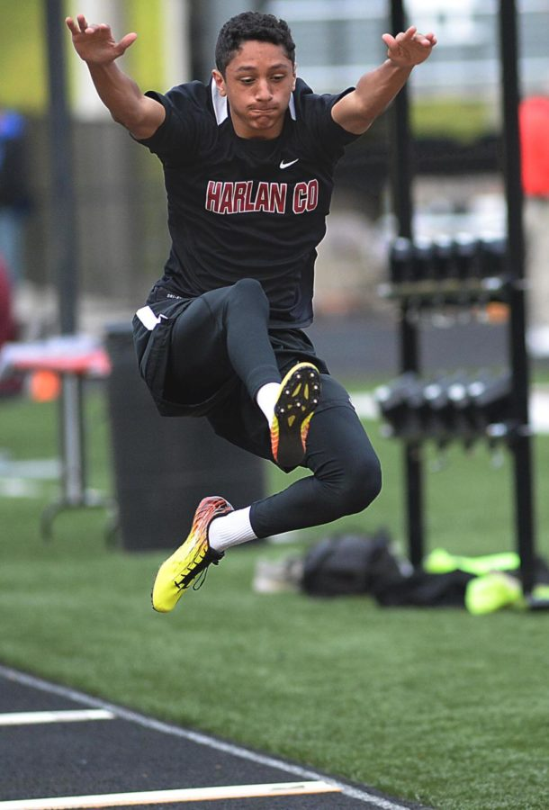 Harlan County'sTaelor Haywood placed 13th in the long jump on Friday at the HCHS track.