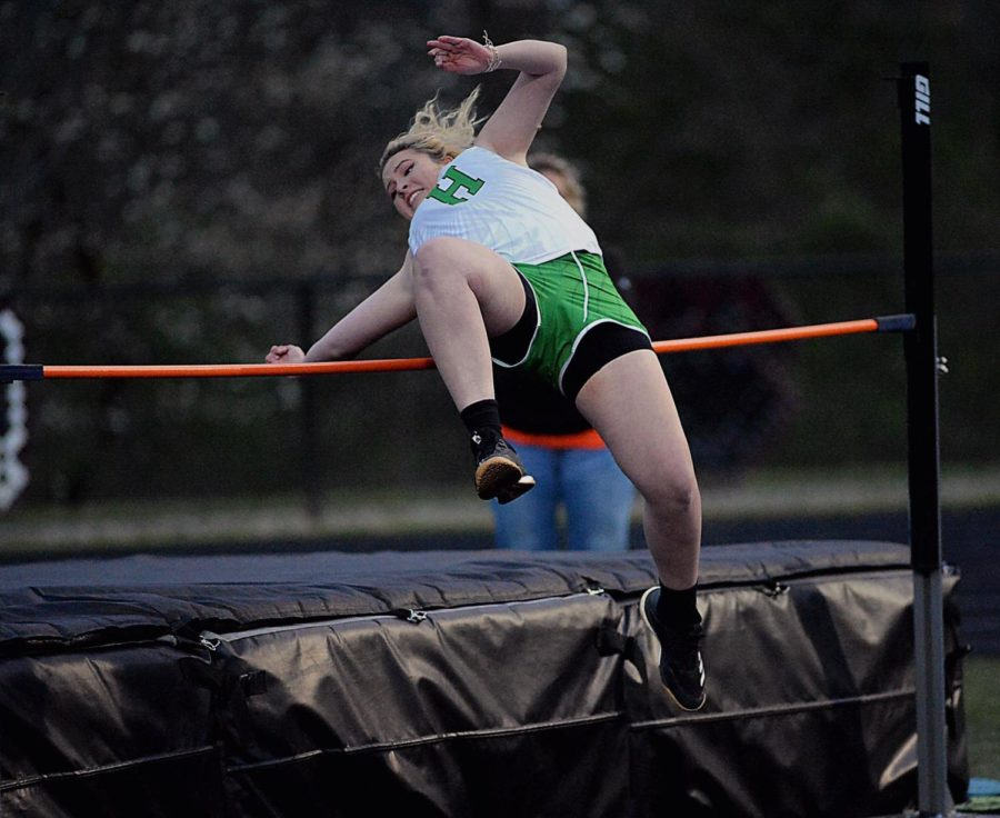 Harlan's Marissa Marlowe participated in the high jump. She placed first in the shot put.