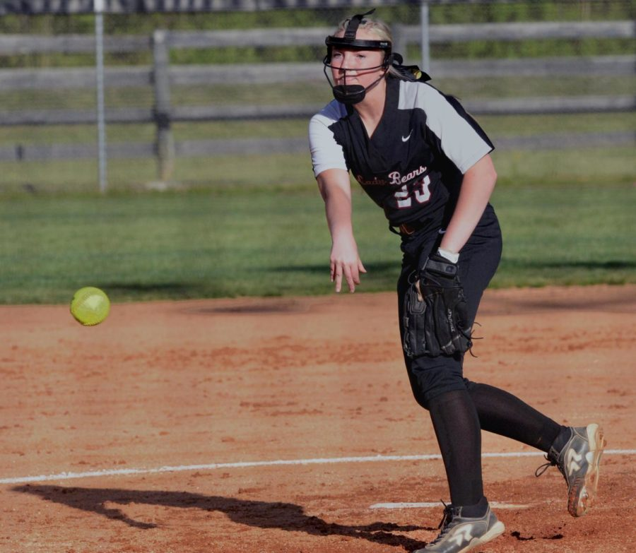 Harlan County's Kerrigan Creech pitched a one-hitter Friday in the Lady Bears' 15-0 win over visiting Harlan.