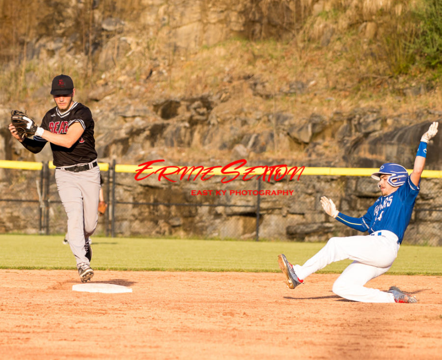 Harlan County's Josh Swanner forced out a runner in Monday's game at Letcher Central.
