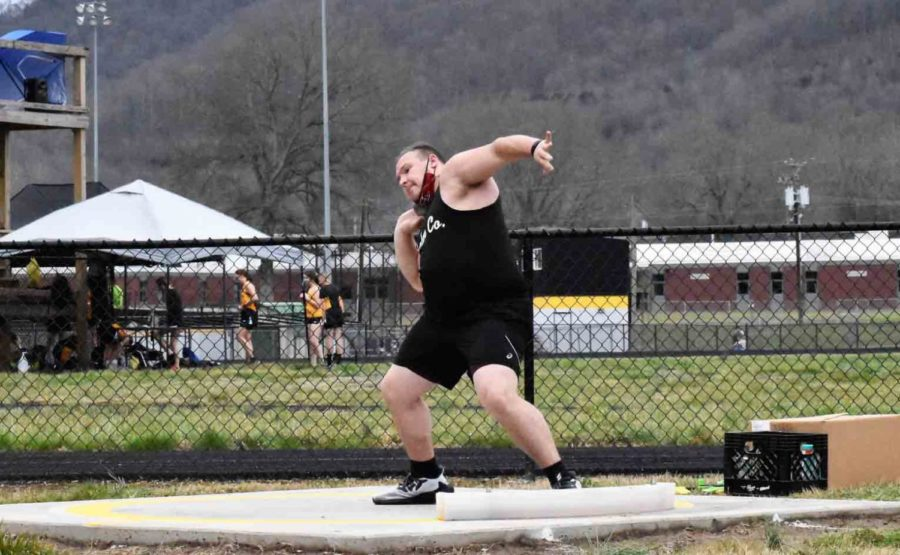 Harlan County senior Hunter Blevins is ranked among the state leaders in the shot put. He won the meet at Harlan County High School last week.