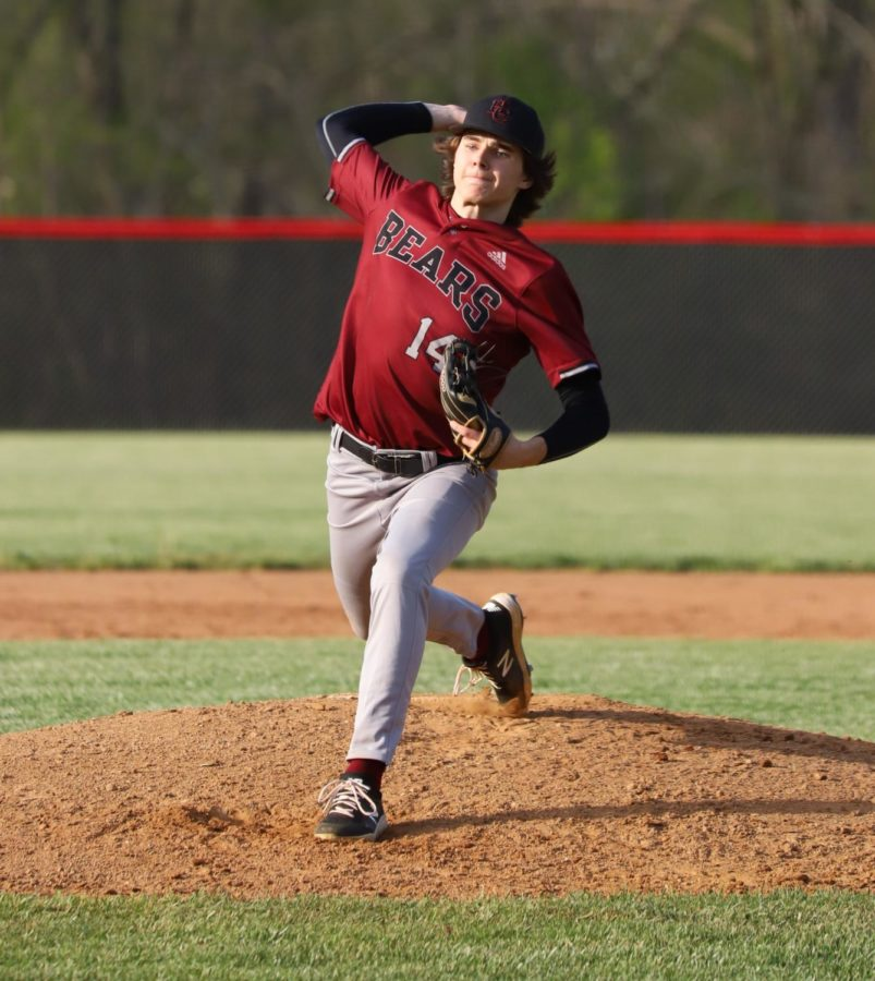 Tristan+Cooper+pitched+five+innings+Monday+as+Harlan+County+defeated+visiting+Bell+County+15-5.