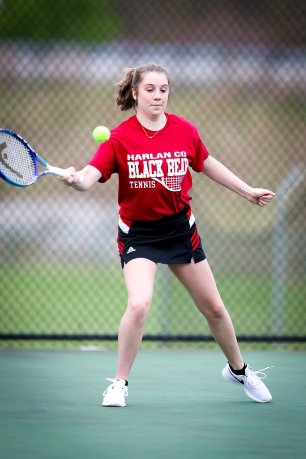 Lindsay Hall and Abigail Gaw teamed up for a doubles win as Harlan County edged South Laurel 5-3 on Friday.