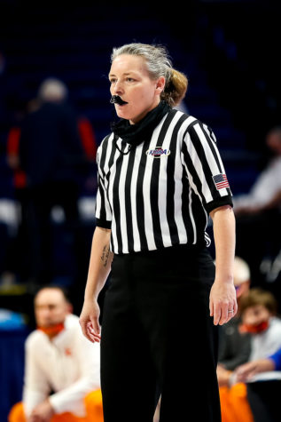 Harlan County High School teacher Jennifer Hilton was part of the officiating crew for the girls state championship game Saturday at Rupp Arena matching Sacred Heart against Marshall County. It was the fifth appearance in the state tournament for Hilton as an official and the third time she has called the state finals.