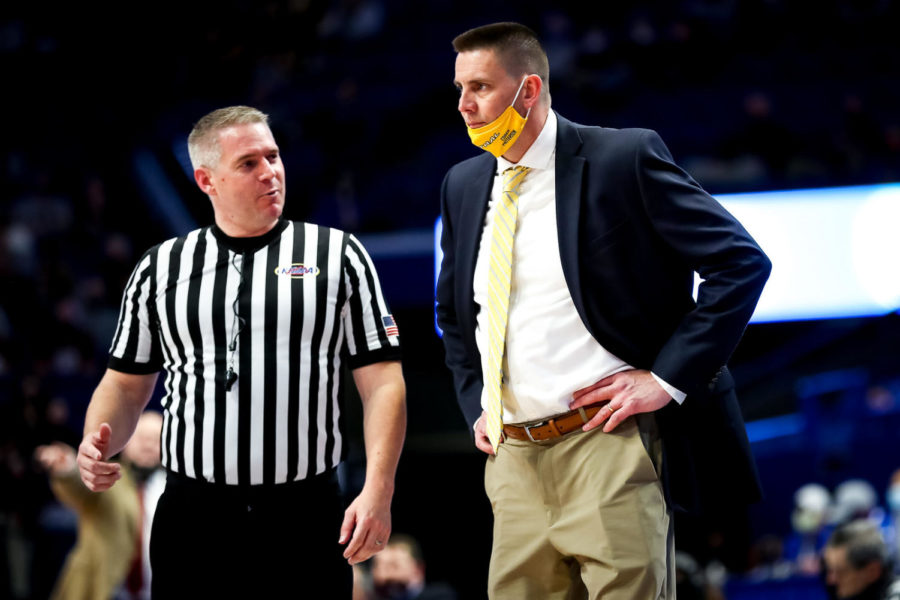 Knox Central coach Tony Patterson talked with an official during state tournament action Thursday against Ashland Blazer at Rupp Arena.