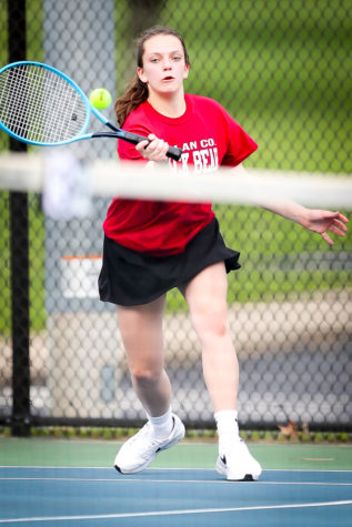 Lindsay Hall was a winner in both singles and doubles as Harlan County swept Bell County 9-0 on Monday.