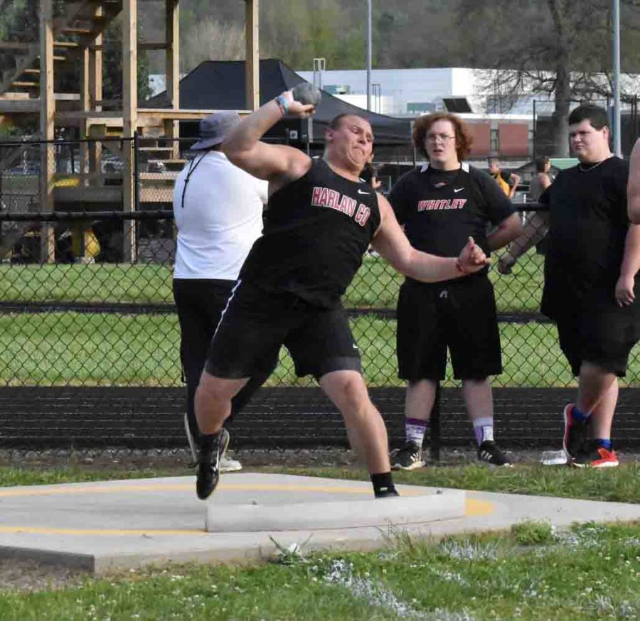 Harlan County senior Hunter Blevins was the winner in the shot put at the Southeastern Kentucky Conference meet.