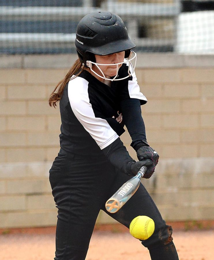 Senior outfielder Brenna Early connected on a pitch during the fifth inning in Harlan County's 3-0 win Tuesday over visiting Jenkins.