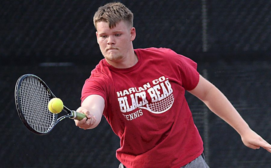 Harlan County senior Cody Clayborn competed in tennis action Thursday against visiting Knox Central.