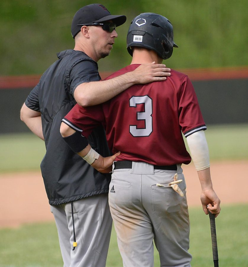 Harlan County coach Drew Chamberlain talked to Josh Swanner during a game earlier this season. The Black Bears will play Harlan tonight at 7:30 in the 52nd District Tournament at HCHS.