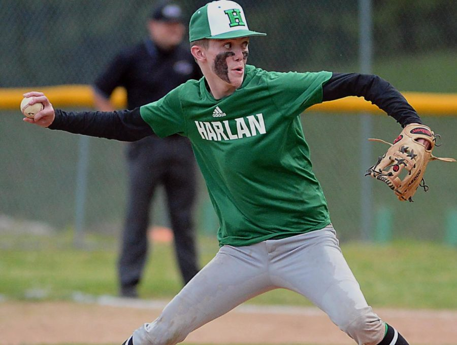 Harlan's Evan Browning delivered a pitch in action earlier this season.