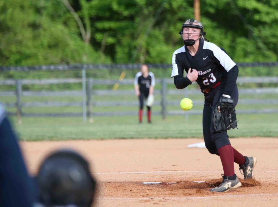 Harlan+County%27s+Kerrigan+Creech+delivered+a+pitch+earlier+this+season.+Creech+shut+out+visiting+Clay+County+over+three+innings+before+the+Lady+Tigers+rallied+late+for+a+10-8+win.