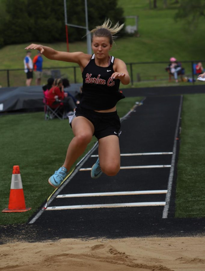 Harlan County senior Kassy Owens was a winner in four events on Saturday at the Area 9 meet.