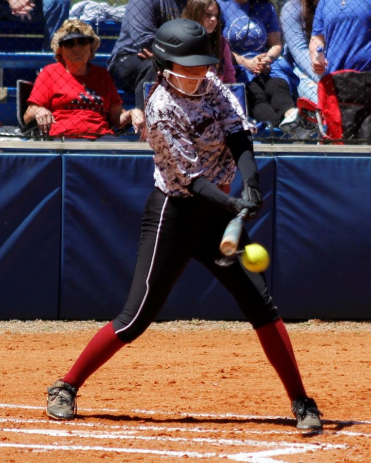 Harlan County center fielder Jacey Lewis had two hits on Saturday in the Lady Bears' loss at Letcher Central.