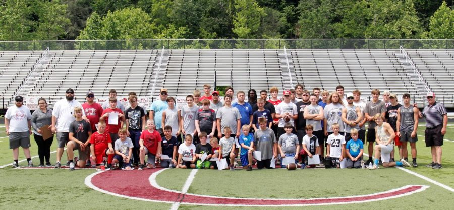 The Black Bears Football Camp was held on Saturday at Coal Miners Memorial Stadium and drew participants from across the county, including current members of the Harlan County High School football team. New HCHS football coach Amos McCreary led the camp, along with several members of his coaching staff. Campers were instructed on some of the basic fundamentals of football and participated in drills and games.