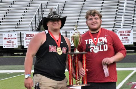Hunter Blevins (left) and Connor Blevins are among the participants from Harlan County at the state track meet Friday in Lexington.