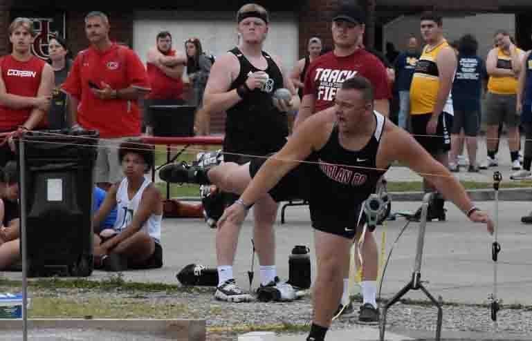 Harlan County senior Hunter Blevins was the Region 5 champion in the shot put following his throws Wednesday.