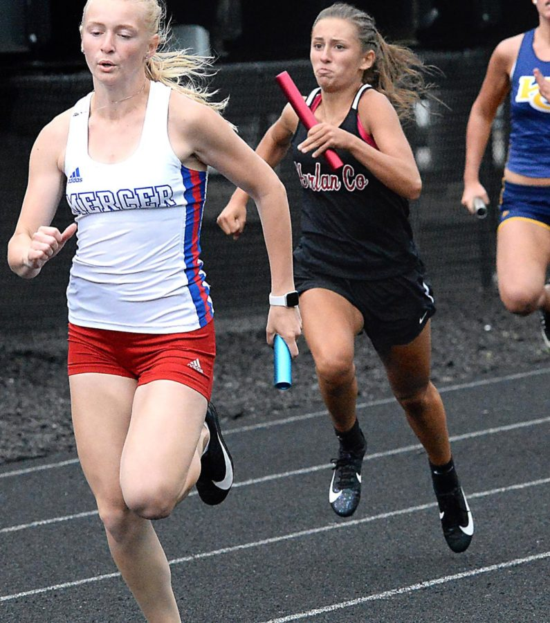Harlan County freshman Ella Karst competed in one of the relay events events on Wednesday at the Region 5 meet.