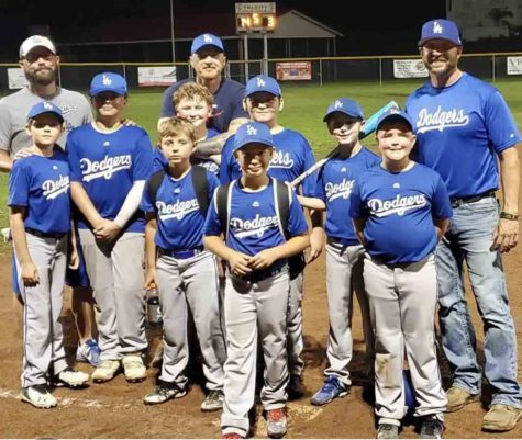 The Benham Lodge Dodgers won the Tri-City Little League regular season title with a 10-5 record. Team members include, from left, front row: Tobey Lunsford and Barrett Baldwin; middle row: Tanner Chappell, Gavvin Lloyd, Carson Clark, Byron Shepherd, Elijah Creech and Kyllian Jackson; back row: coaches Stephen Creech, Michael Clark and Drew Baldwin; not pictured: Grant Ingram.