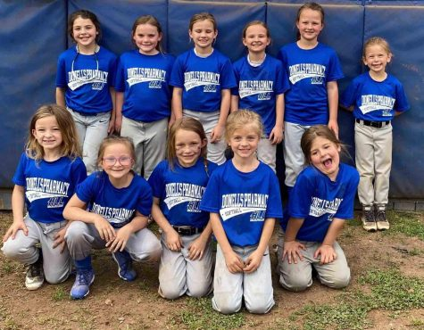 Donell's Pharmacy won the minor league softball division of the Harlan Little League. Team members include, from left, front row: Lakynn Clem, Kelsey Myers, Ella Brock, Josie Bennett and Journee Bennett; back row: Campbell Thompson, Alivia Eversole, Andrea Napier, Aniston Burton, Embrey Engle and Maddy Barrett; coaches are Shelby Burton, Andrew Burton and Drew Chamberlain.