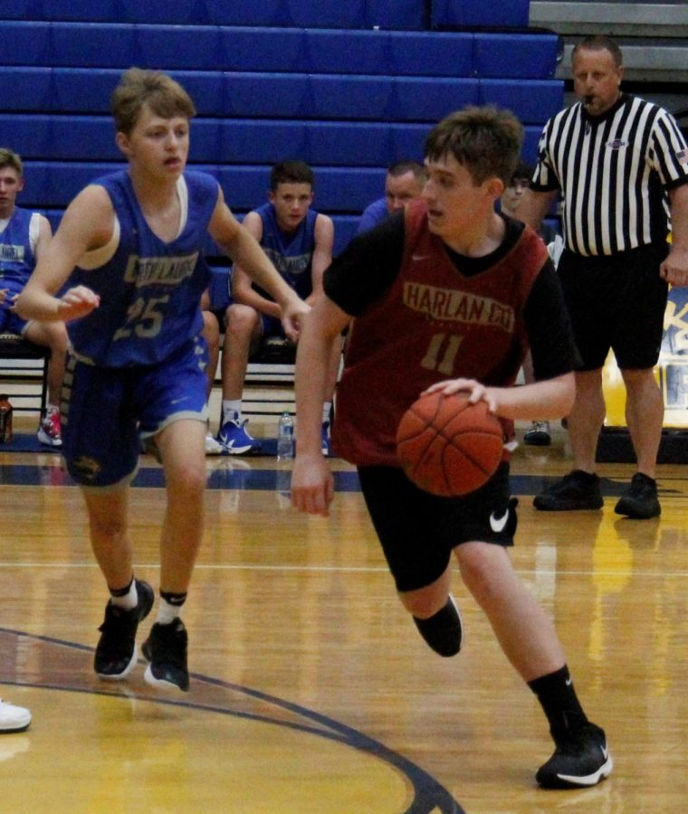 Freshman guard Brody Napier headed to the basket in junior varsity action Tuesday against North Laurel.