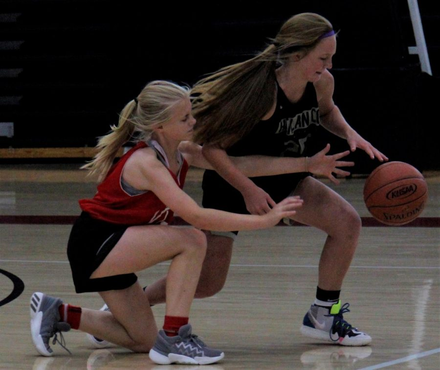 Harlan County eighth-grader Cheyenne Rhymer battled for a loose ball in scrimmage action Tuesday. Rhymer scored six points as the Lady Bears defeated Lee 21-8 in junior varsity action.