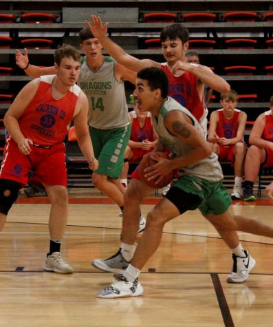 Harlan junior Kaleb McLendon went to the basket during a loss to Jackson County in the Williamsburg All A Summer Classic.