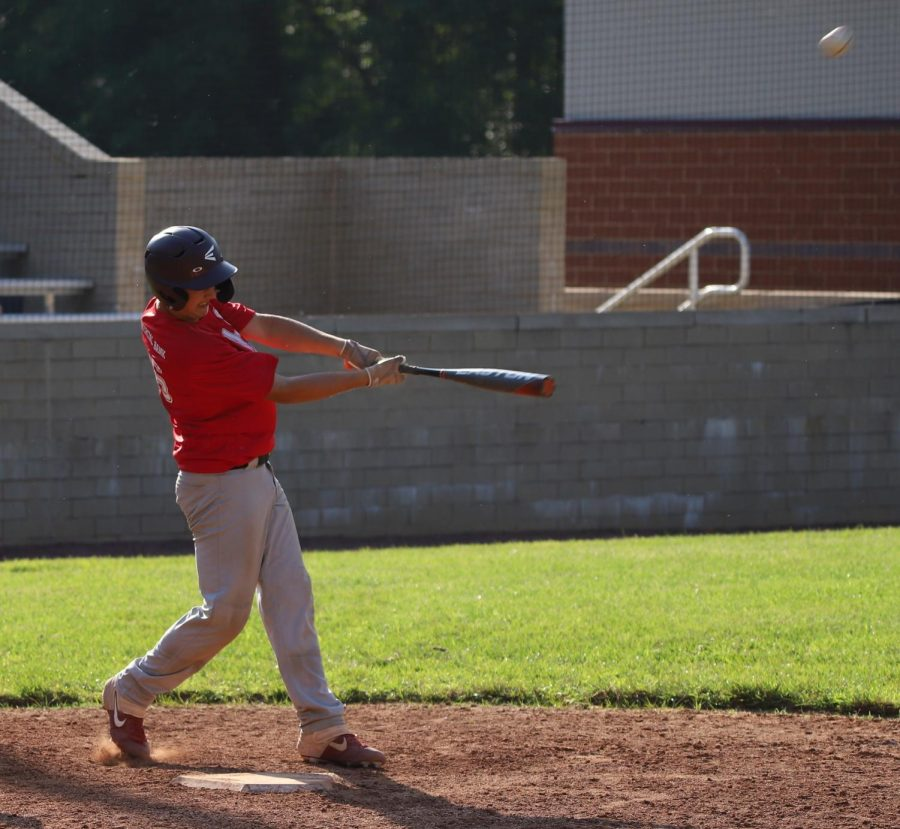 James-Ryan Howard, of the Tri-City Junior League All-Stars, lined a single in scrimmage action against the Tri-City Senior League All-Stars earlier in the week.
