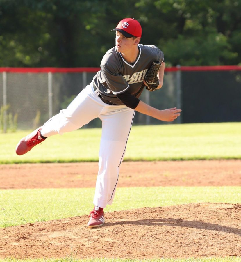 Karsten Dixon delivered a pitch in the Tri-City Senior League All-Star team's win over the Tri-City Junior League All-Stars in a doubleheader at Harlan County High School. Dixon and the Senior League squad won 7-1 in the first game, then won 11-9 in the nightcap.