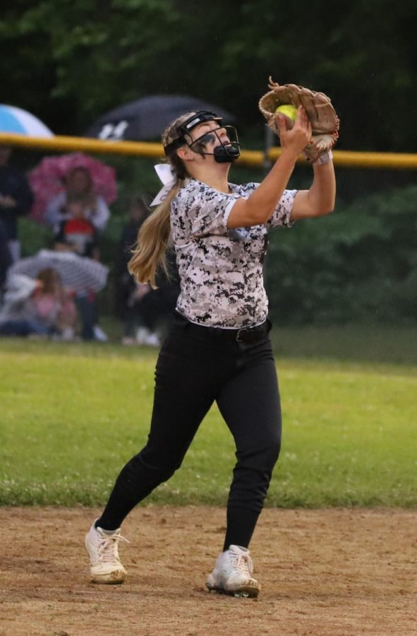 Harlan County second baseman Maddy Blair fielded a pop up during Wednesday's 52nd District Tournament finals. The Lady Jackets won 14-4.