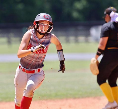 Corbin catcher Kaylee Morales headed for third base with a triple during Saturday