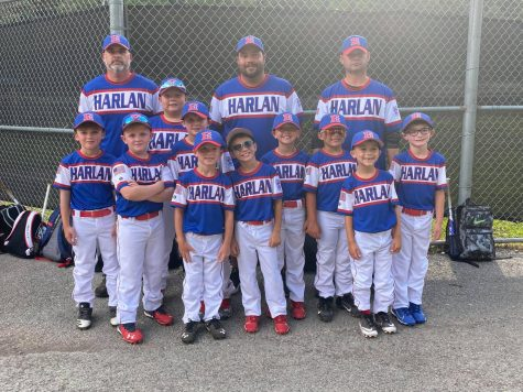 The Harlan All-Stars lost to North Laurel and Knox County in the District 4 Tournament at Hazard. Team members include, from left, front row: Grant Caldwell, Weston Nolan, Easton Clem and Nolan Simpson; middle row: Deacon Lisenbee, Brylee Southerland, Bryson Millis, Seth Johnson, Maddox Landa and Landen Spurlock; back row: coaches Scott Lisenbee, Chris Southerland and Steve Johnson.