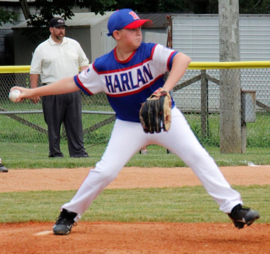 Jesse Gilbert threw a pitch early in District 4 Tournament action Wednesday.