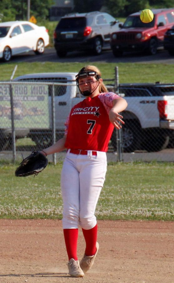 Tri-City shortstop Lexi Adams made a throw in District 4 Tournament action Tuesday.