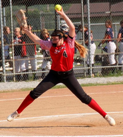 Halanah Shepherd delivered a pitch for the Tri-City All-Stars in District 4 championship game action.