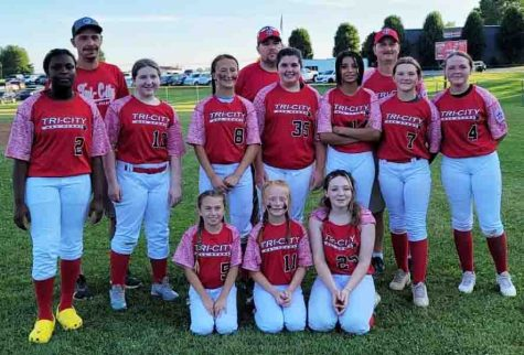 Team members include, from left, front row: Julionna Johnson, Lindsey Burton and Braylen Gilley; middle row: Akira Lee, Lexi Foutch, Aly Sherman, Daelyn Garland, D'Anna Cook, Lexi Adams and Halanah Shepherd; back row: coaches Donnie Shepherd, Robert Welch and Scott Sherman.
