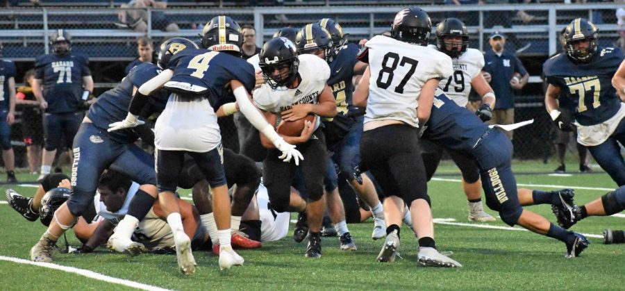 Harlan County senior running back Luke Carr led the Bears with 99 yards rushing in their 48-24 loss Friday at Hazard.