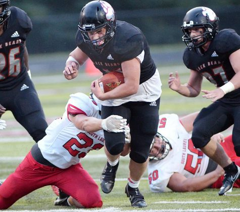 Harlan County running back Josh Sergent broke a tackle in a win over South Laurel earlier this season. Sergent and the Bears return to action Friday at home against Whitley County.