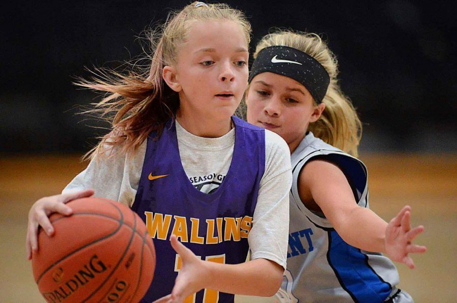 Wallins Brooklyn Haywood was guarded by Rosspoints Kennedy Sturgill in Saturdays game at HCHS in the finals of the Black Bears Preseason Tournament.