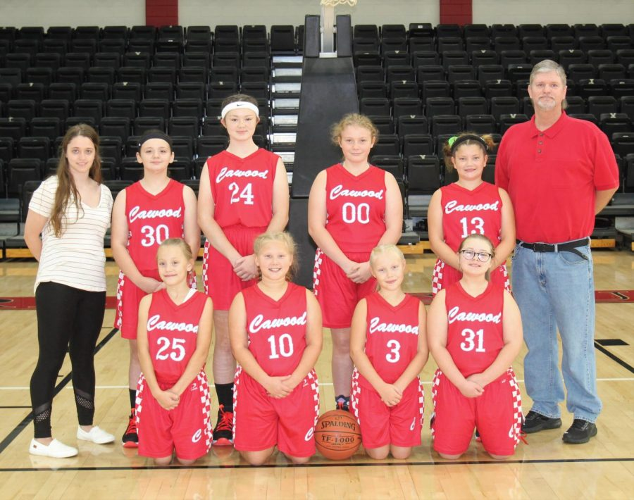 Team members inlcude, from left, front row: Addy Cochran, Allison Noe, Emily Moore and Lily Moore; back row: coach Hannah Stephens, Taylor Reeves, Riley Clem, Jinna Smith, Haydlei Stewart and coach Teddy Stephens.