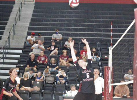 Harlan County eighth-grader Kalista Dunn set the ball for a teammate in action Saturday against Pineville. The Lady Bears won in three sets.