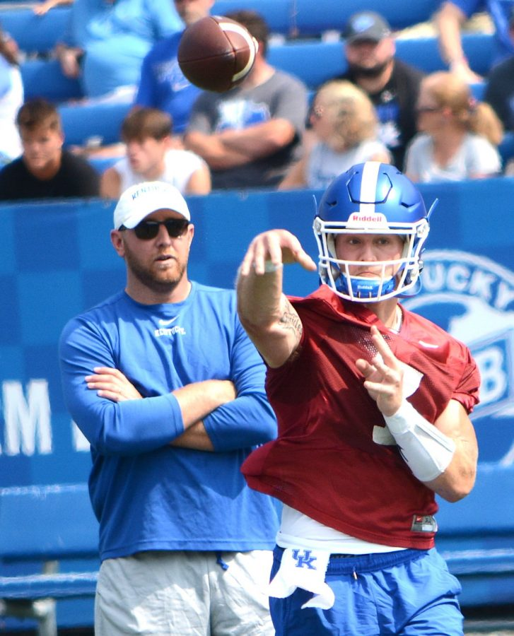 Will Levis makes a pass during Kentucky's fan day open practice last Saturday at Kroger Field.