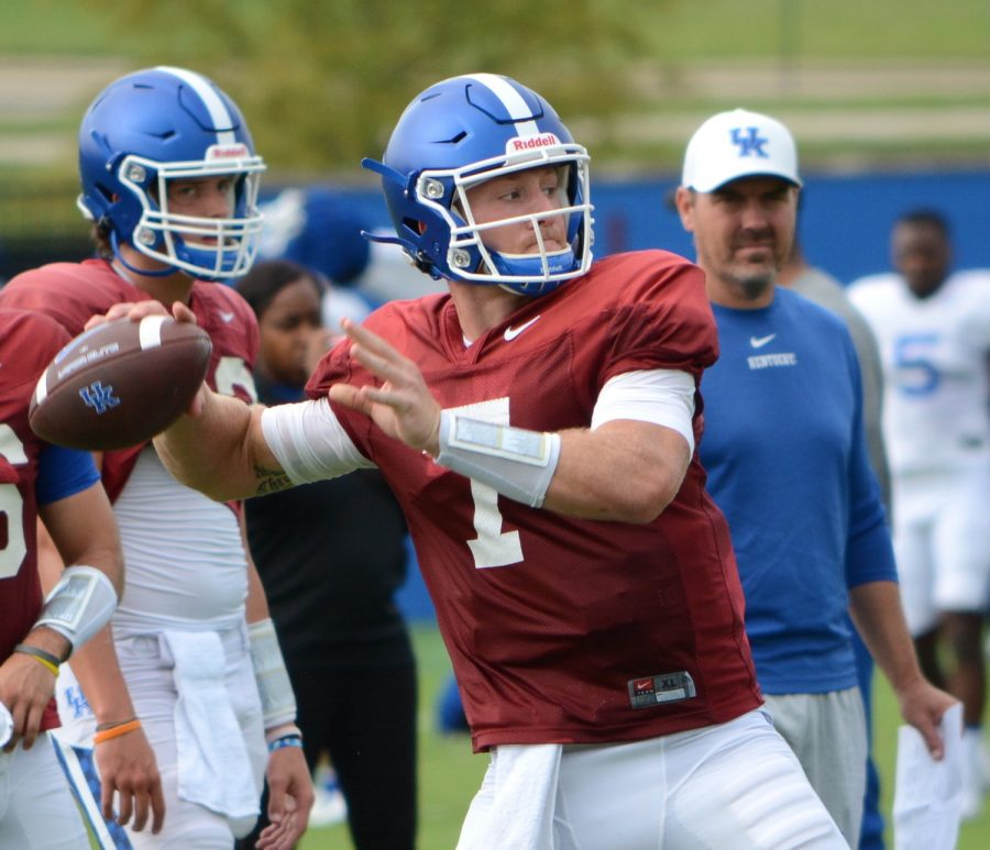 Will Levis launched a throw during an open practice for media members Tuesday in Lexington.