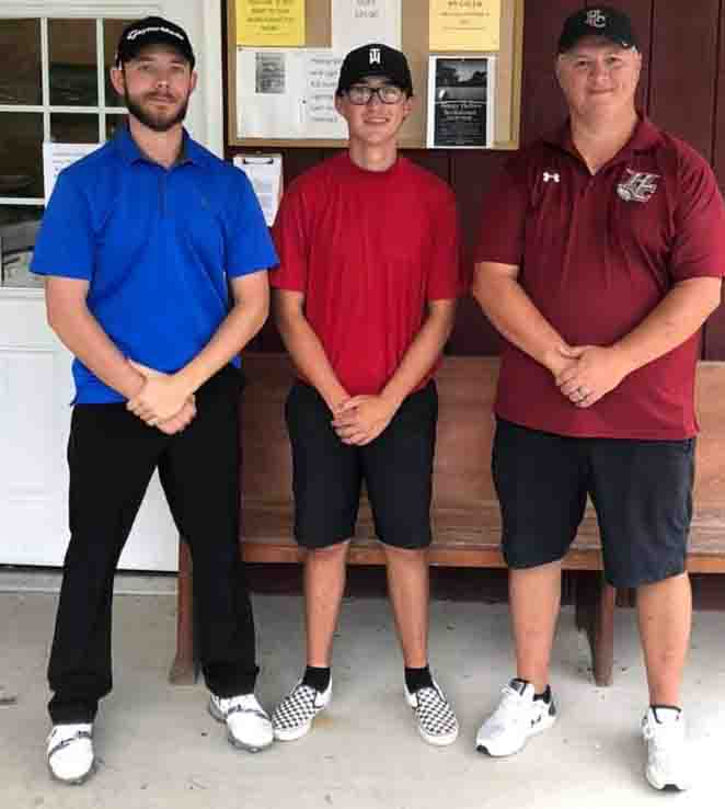 The team of Sam Moore, Matt Lewis and Greg Lewis won the third annual Kevin Hatfield Memorial Golf Scramble on Saturday at the Harlan Country Club by shooting an 18-under par. The tournament, sponsored by the Harlan County boys basketball team, was held at the Harlan Country Club.