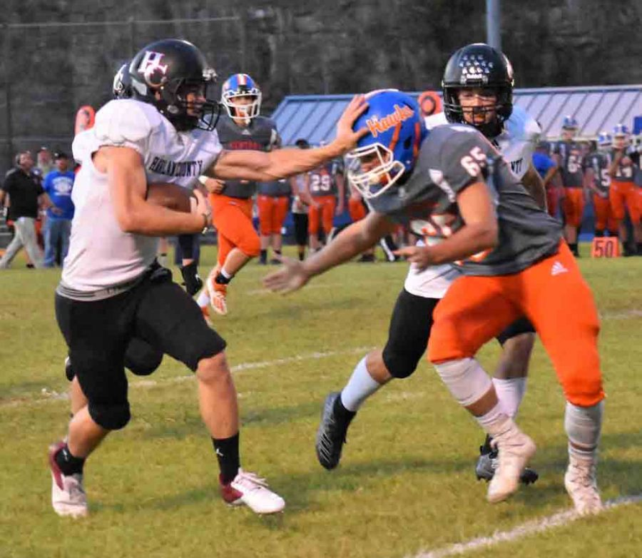 Harlan County sophomore Jonah Swanner picked up a big gain in Fridays game at Pike Central. Swanner returned his second kickoff for a touchdown this season as the Bears won 60-38.