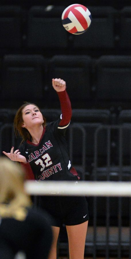 Harlan Countys Destiny Cornett, pictured in action earlier this season, helped lead the Lady Bears to a four-set win Tuesday at Middlesboro.